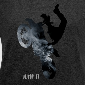 bike-jump stunt Cross Enduro motorcycle jump black - Women's T-shirt with rolled up sleeves