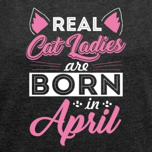 Cat lovers April - Women's T-shirt with rolled up sleeves