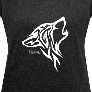 Wolf - Women's T-shirt with rolled up sleeves