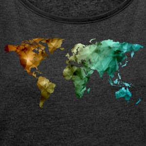 world map - Women's T-shirt with rolled up sleeves