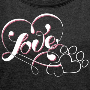 paw - Women's T-shirt with rolled up sleeves