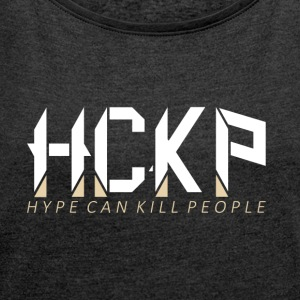 HCKp LOGO WHITE - Women's T-shirt with rolled up sleeves