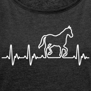 Heart for horses - Women's T-shirt with rolled up sleeves