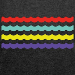 Colour Waves - Frauen T-Shirt mit gerollten Ärmeln