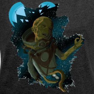 Alien Dead in Space - Dame T-shirt med rulleærmer