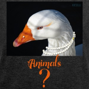animals - goose - Women's T-shirt with rolled up sleeves