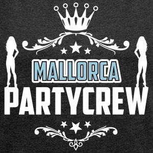Party! Mallorca! Malle! Spring Break! - T-skjorte med rulleermer for kvinner