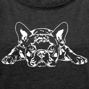 French Bulldog lying - French Bulldog - Women's T-shirt with rolled up sleeves