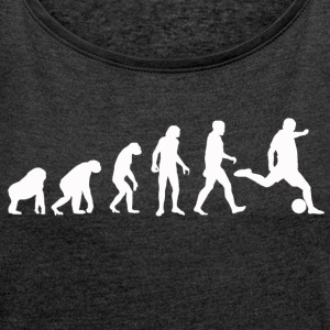 Football Evolution / Soccer evolution - Black Edit - Women's T-shirt with rolled up sleeves