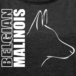 BELGIAN MALINOIS PROFILE - Women's T-shirt with rolled up sleeves