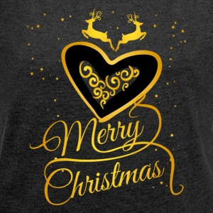 gold heart Glamour Christmas Xmas Moose star - Women's T-shirt with rolled up sleeves