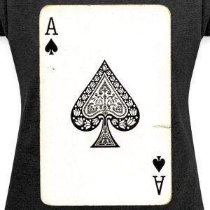 Games Card Ace Of Spades - Women's T-shirt with rolled up sleeves