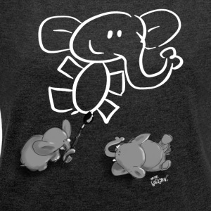 When elephants paint elephants. - T-shirt med upprullade ärmar dam