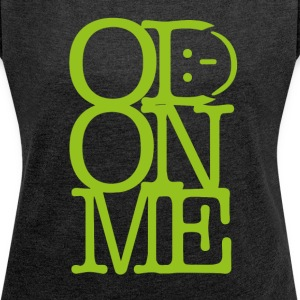 OD ON ME - Lime - T-skjorte med rulleermer for kvinner