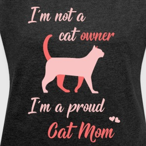 Cat Mom pink - Women's T-shirt with rolled up sleeves