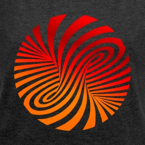 psychedelic circles lsd optical illusion column - Women's T-shirt with rolled up sleeves