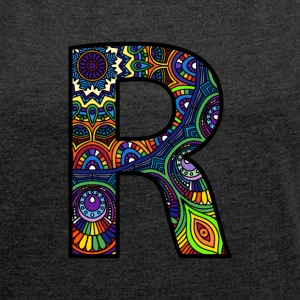 Letter R Mandala - Women's T-shirt with rolled up sleeves