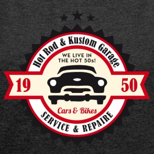 Hot Rod og Kustom Garage - Dame T-shirt med rulleærmer