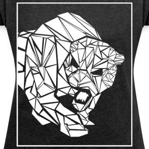 Panther, abstract - Vrouwen T-shirt met opgerolde mouwen