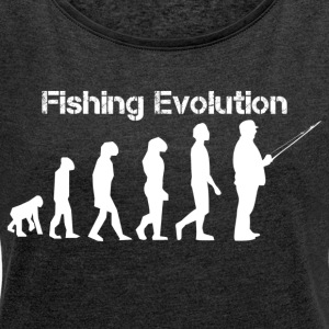 Fishing evolution - Women's T-shirt with rolled up sleeves