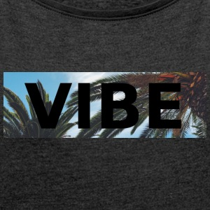 VIBE PALM - Women's T-shirt with rolled up sleeves