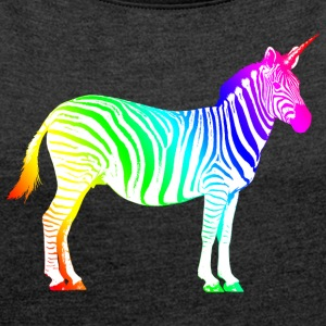 Zebra Unicorn Unicorn Rainbow Magic Magi - T-shirt med upprullade ärmar dam