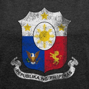 Filipino Coat of Arms Philippines Symbol - Women's T-shirt with rolled up sleeves