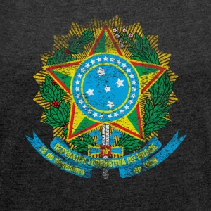 Brazilian Coat of Arms Brazil Symbol - Women's T-shirt with rolled up sleeves