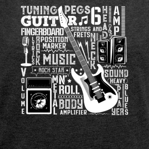 Guitar Music Design - Women's T-shirt with rolled up sleeves