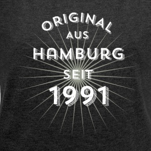 Original from Hamburg since 1991 - Women's T-shirt with rolled up sleeves