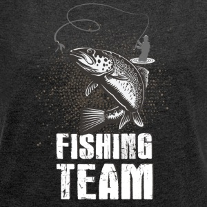 Fishing! Fishing! Club! Team! Club! Fishing rod! - Women's T-shirt with rolled up sleeves