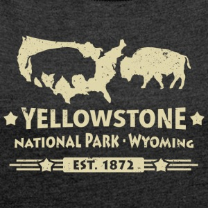 Buffalo Bison Büffel Yellowstone Nationalpark USA - Frauen T-Shirt mit gerollten Ärmeln