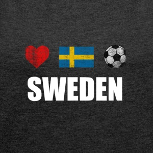Svezia Swedish Football Calcio T-shirt - Maglietta da donna con risvolti