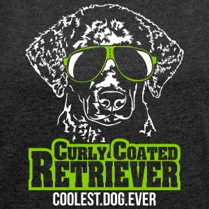 CURLY COATED RETRIEVER coolest dog - Women's T-shirt with rolled up sleeves