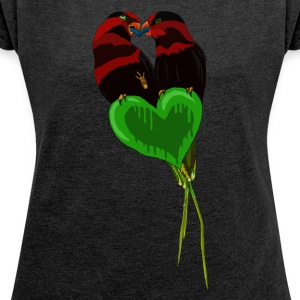 Love Birds by BlackenedMoonArts - Women's T-shirt with rolled up sleeves