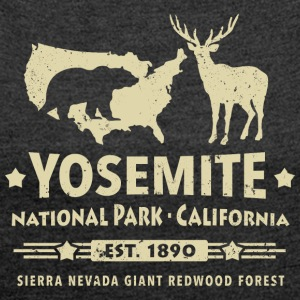 Yosemite National Park California Bear Redwood - Women's T-shirt with rolled up sleeves