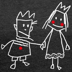 Stick Figure Queen Princess KingQueen couple - Women's T-shirt with rolled up sleeves