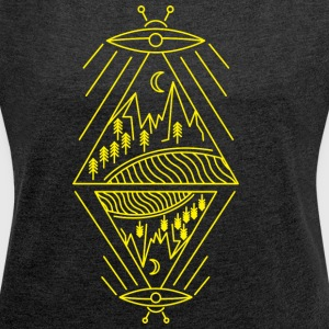 Ufo sighting paranormal mountains sun trees - Women's T-shirt with rolled up sleeves