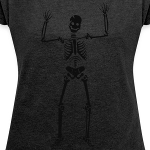 Happy Skeleton - Women's T-shirt with rolled up sleeves