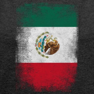 Mexico Flag Proud Mexican Vintage Distressed - T-shirt med upprullade ärmar dam