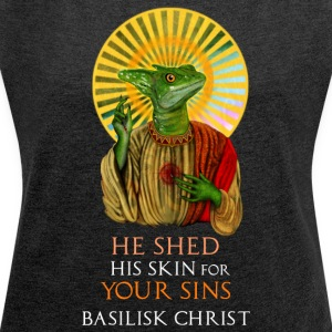 Basilisk Christ - Women's T-shirt with rolled up sleeves