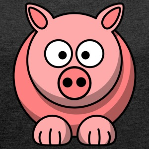 Piggy t-shirt - Women's T-shirt with rolled up sleeves