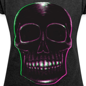 Blackwork Skull with Pink & Green - Women's T-shirt with rolled up sleeves