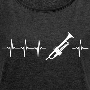 I love playing trumpet (trumpet heartbeat) - Women's T-shirt with rolled up sleeves