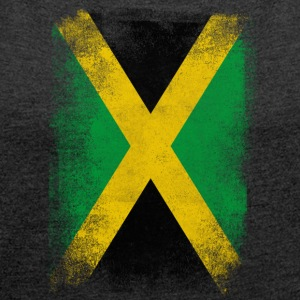 Jamaica Flag Proud Jamaican Vintage Distressed - Women's T-shirt with rolled up sleeves