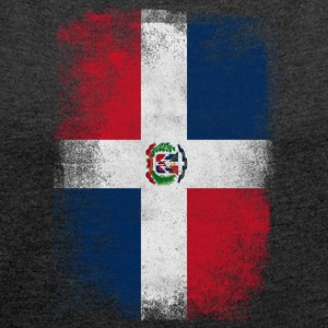 Dominic Dominican Republic Flag Vintage Distressed - Women's T-shirt with rolled up sleeves