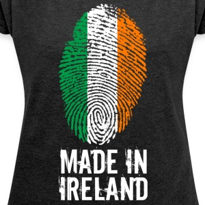 Made In Ireland / Irland / Éire - T-skjorte med rulleermer for kvinner