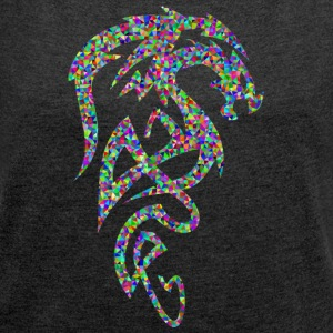 Mosaic Dragon Tribal - T-skjorte med rulleermer for kvinner