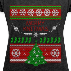 Merry Knitmas - Women's T-shirt with rolled up sleeves