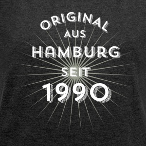 Original from Hamburg since 1990 - Women's T-shirt with rolled up sleeves